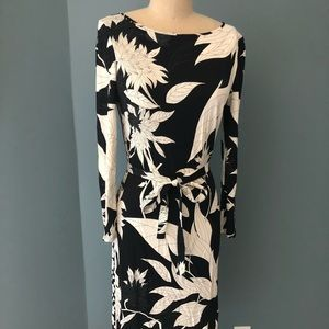 EMILIO PUCCI - Black & White Floral Printed Dress
